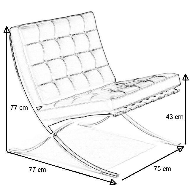 Barcelona Chair mit Angabe der Maße