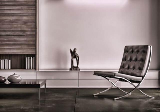 Barcelona Chair im Wohnzimmer