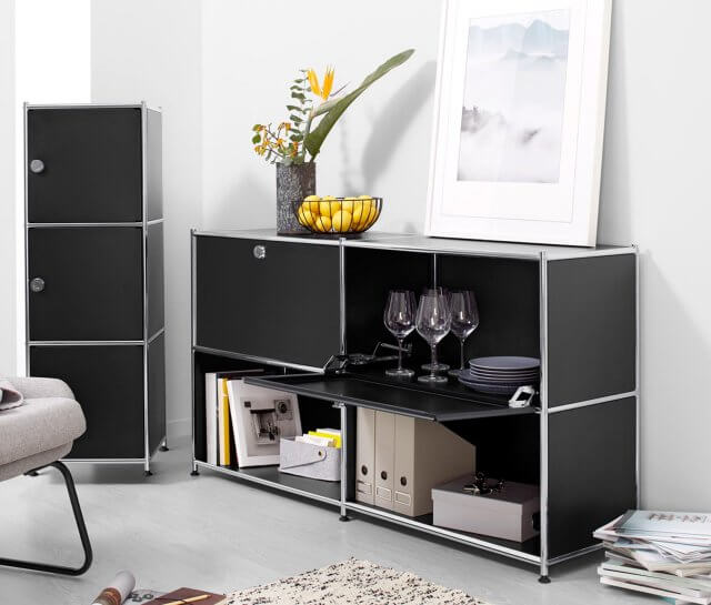 Metall Sideboard schwarz