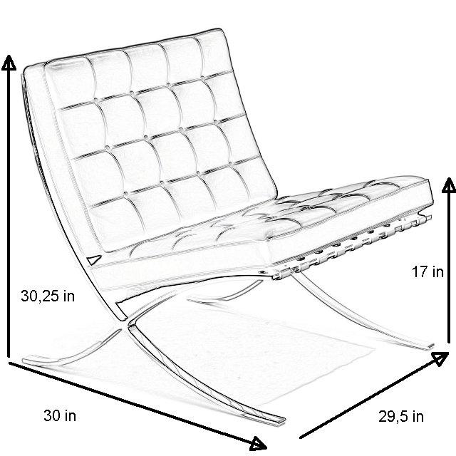 Barcelona-chair-dimensions