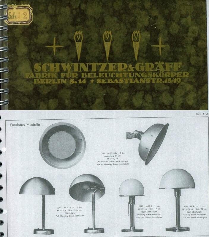 Schwintzer & Graeff Katalog mit der Wagenfeld Leuchte